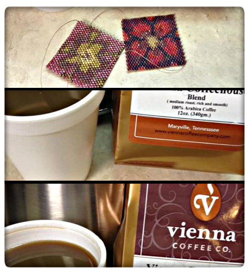 Three photographs of coffee and beadwork: flower pattern peyote stitch squares, a bag of Vienna Coffeehouse coffee, and a cup of coffee.