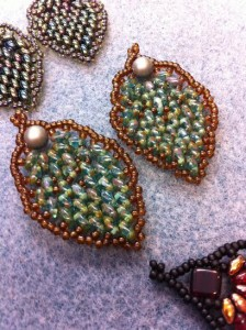 Pinecone Earrings stitched by Judi T.