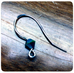 photo of a handmade earwire with a Swarovski crystal accent