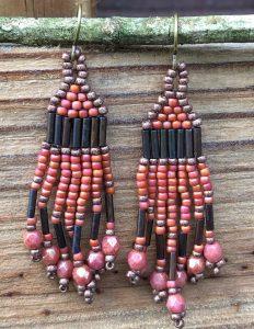 brick stitch fringe earrings