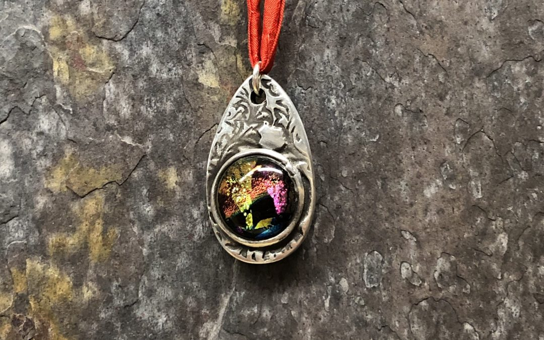 Art Clay Silver and Dichroic Glass Pendant  with Christiane Ross